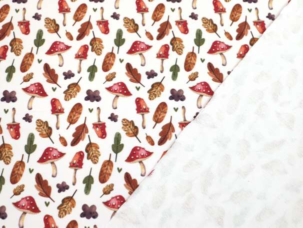 French Terry - Halloween - Fliegenpilze & Blätter