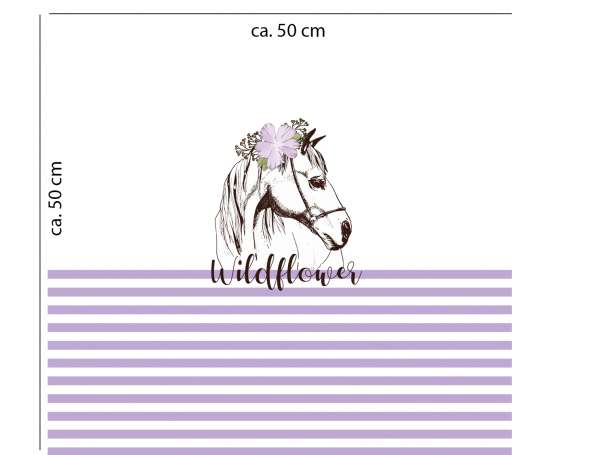 Jersey Stoff PANEL - Pferd Wildflower - lila