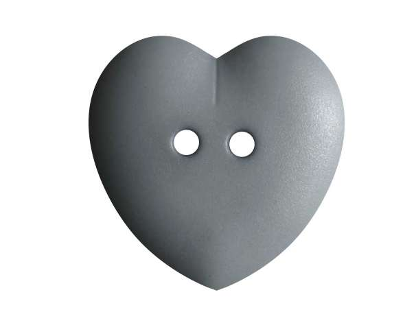 Knopf Herz 23mm - grau