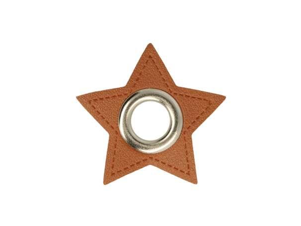 1 Kunstleder-Stern mit Öse - 8 mm - braun/silber