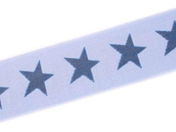 Gummiband STERN, beidseitig - 40 mm - blassblau,jeansblau