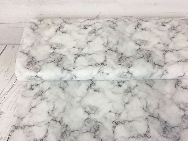 Baumwolle Stoff - Marbled in White