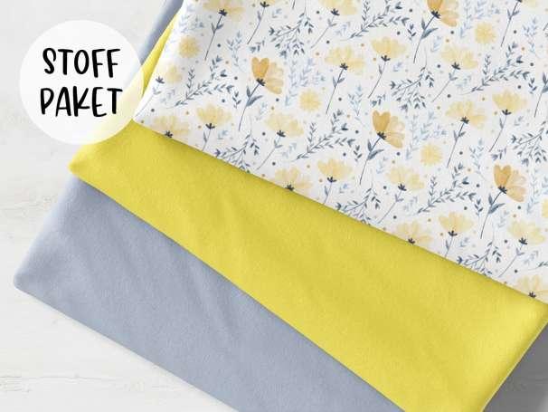Stoffpaket - Sommerblümchen, gelb - blassblau