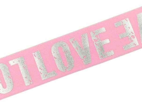 Gummiband - LOVE - 4cm - rosa