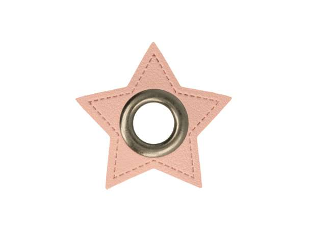 1 Kunstleder-Stern mit Öse - 8 mm - rosa/anthrazit