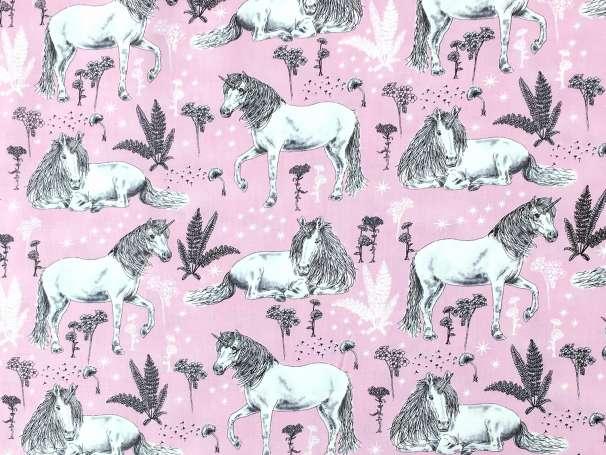 Baumwolle Stoff - Sketched Unicorn