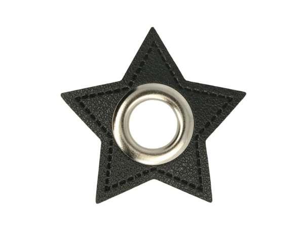1 Kunstleder-Stern mit Öse - 11 mm - schwarz-silber