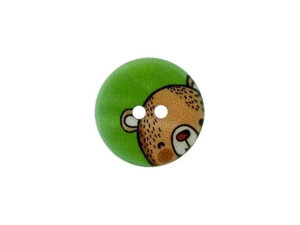 Knopf - 15 mm - Teddy, grün