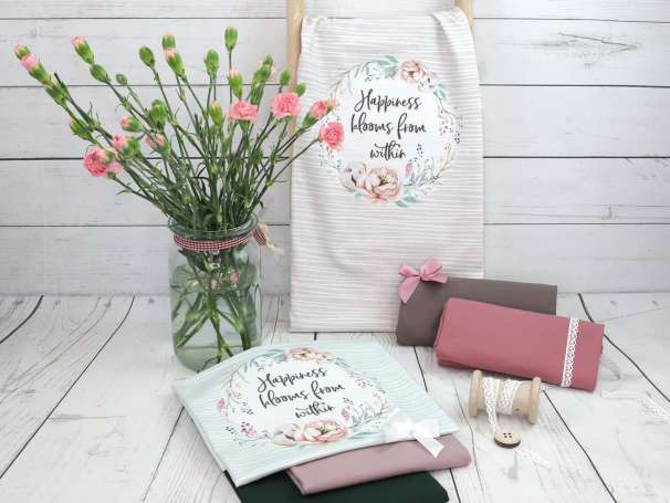 Jersey Stoff PANEL - Happiness Blooms From Within