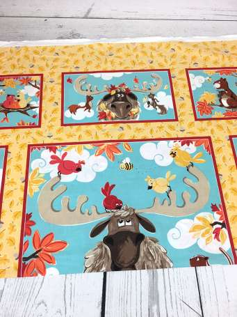 Baumwolle Stoff - PANEL - Bruce, the Moose (oben)