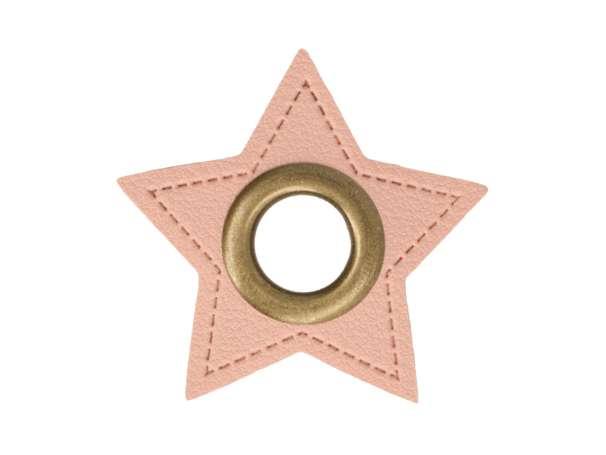 1 Kunstleder-Stern mit Öse - 11 mm - rosa/bronze