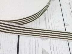 Gurtband - 35 mm - Streifen, creme-olive