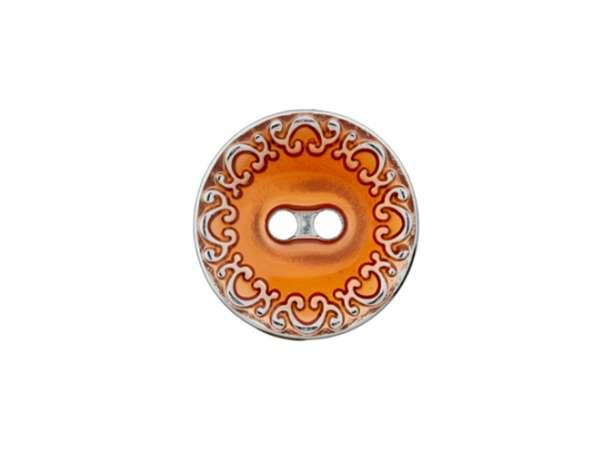 Metallknopf mit Verzierung - 18mm - orange