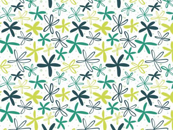 Jersey Stoff - Flowers, aqua-lime