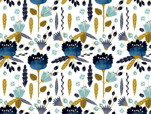 French Terry - Blumen & Blätter