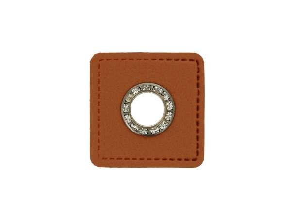 1 Kunstleder-Quadrat mit Glitzer-Öse - 6 mm - braun/anthrazit