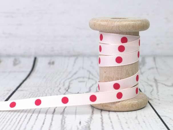 Ripsband - Punkte - blassrosa/pink