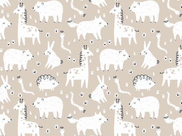 French Terry - Kleine Wildtiere - Giraffe, Igel & Co. beige/weiß