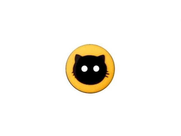 Knopf - 12 mm - Katzenkopf, gelb