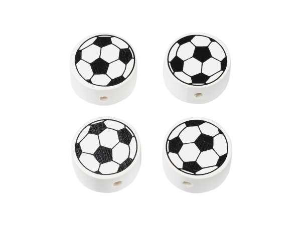 Schnulli-Fußball-Perlen - 4 Stück - schwarz/weiß