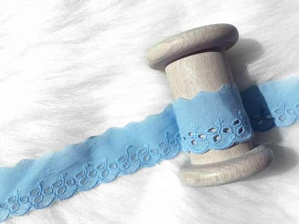 Lochstickerei Spitze - 30 mm - hellblau