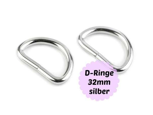 4x D-Ringe silber - 32mm