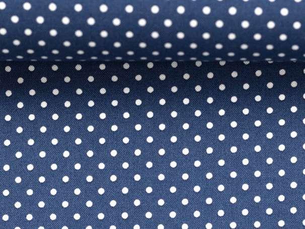 BAUMWOLLE Stoff - Pünktchen - jeansblau,weiß