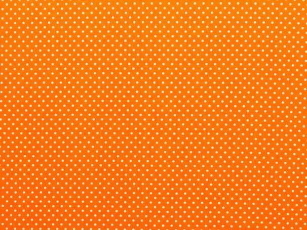 BAUMWOLLE Stoff - Pünktchen - orange,weiß