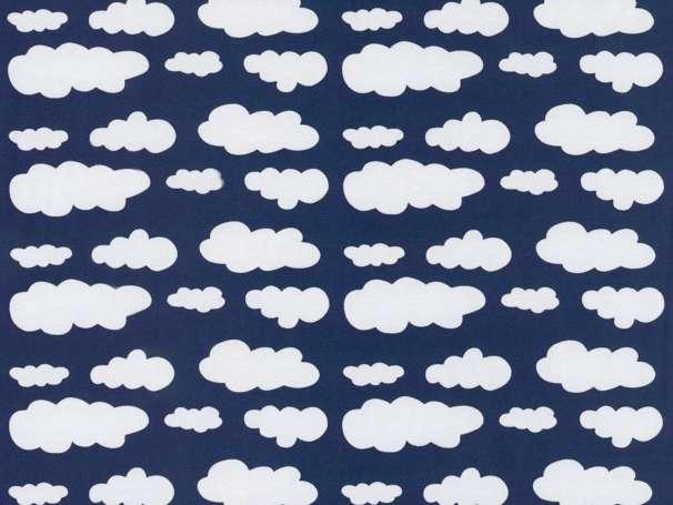 Jersey Stoff - Wolken - dunkelblau