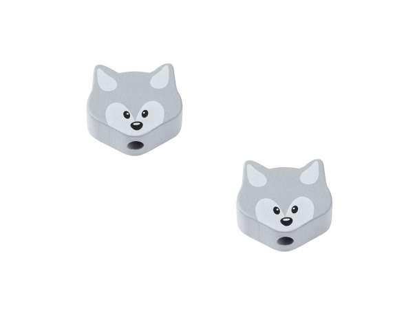 Schnulli-Fuchs-Perlen - 2 Stück - grau