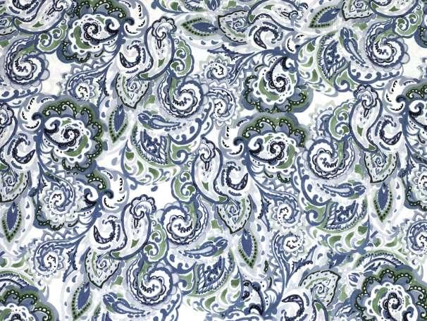 Baumwolle Stoff - Ring a Roses - Paisley, weiß-blau