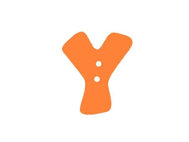 Buchstaben Knopf - orange - Y
