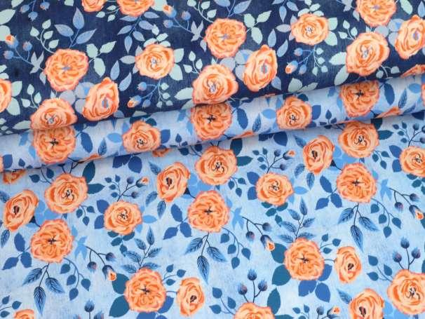 Jersey Stoff - BLUMEN, APRICOT - Jeansoptik, verschiedene Farben