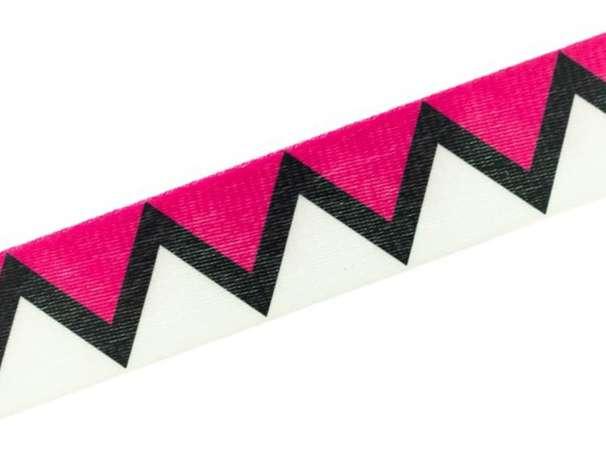 Doubleface Gurtband 40mm - zickzack - pink/weiß