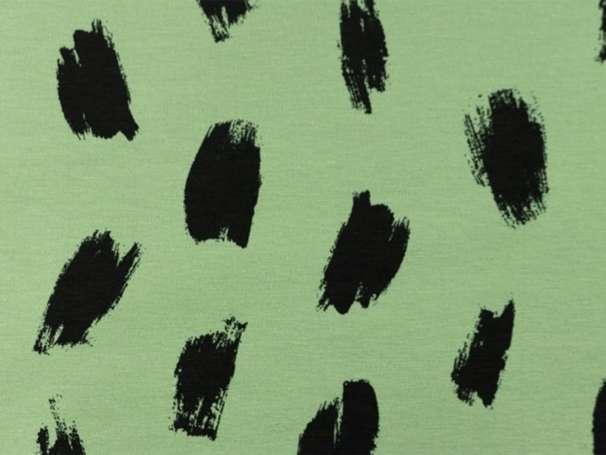 Jersey Stoff - Charcoal Stripes - grün