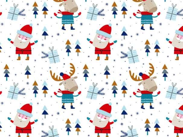 French Terry - Weihnachtsmann - blau