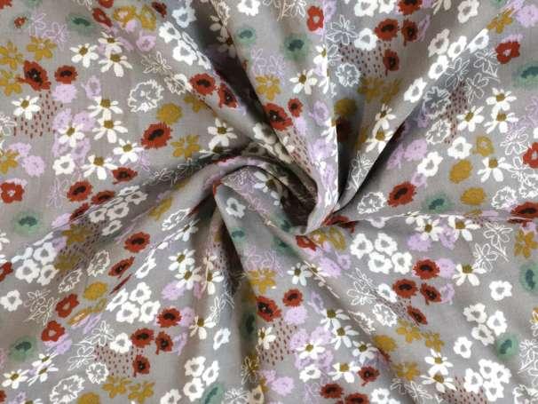 Glatter Musselin Stoff - Blumenbeet - grau