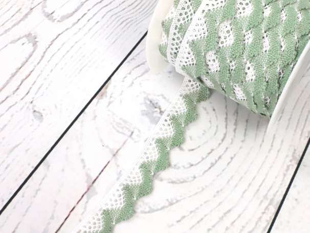 Spitze zweifarbig - 20mm - weiß/blassgrün