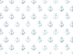 Jersey Stoff - Watercolor Anchor - hellblau