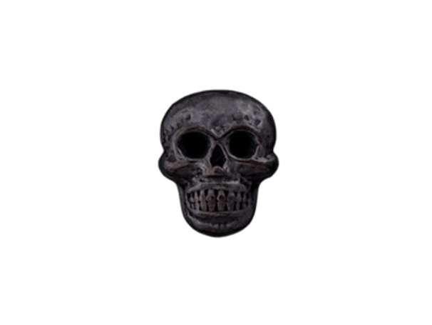 Knopf mit Öse Metall - 18mm - Totenkopf schwarz