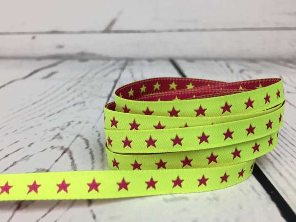 Webband neongelb/pink - Sternchenband