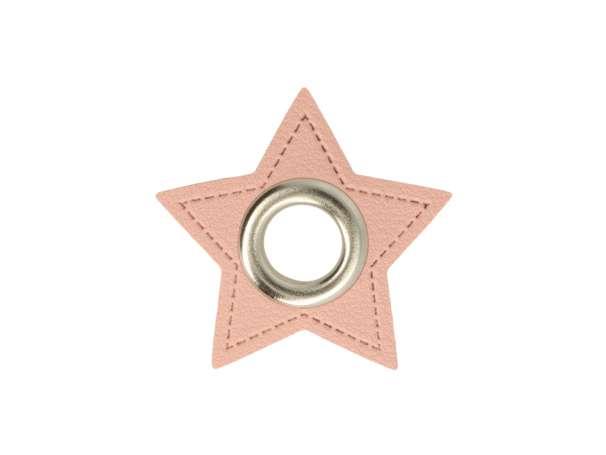1 Kunstleder-Stern mit Öse - 8 mm - rosa/silber