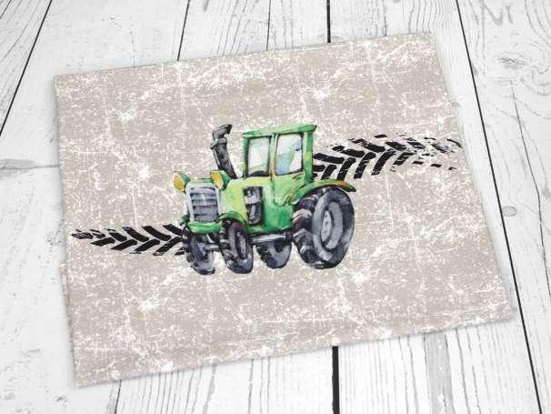 Jersey Stoff - Traktor PANEL - Grunge schlamm
