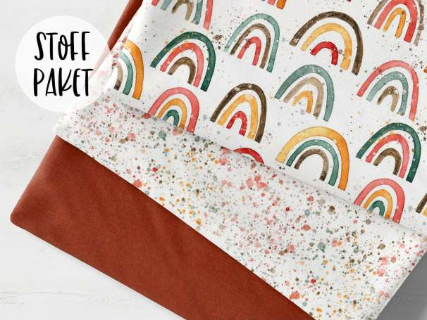Stoffpaket French Terry - Aquarell Regenbogen - terracotta meliert