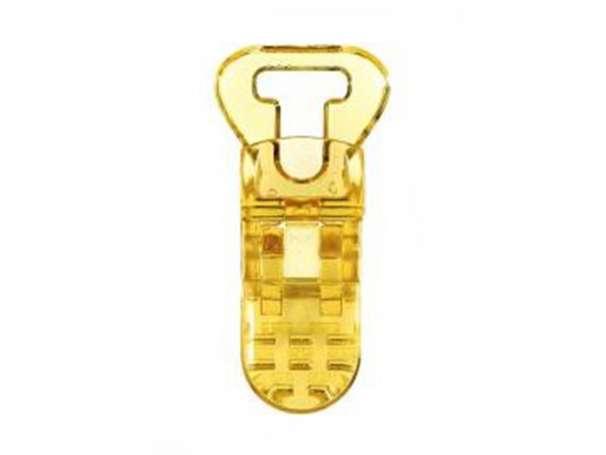 Schnullerclip gelb - transparent