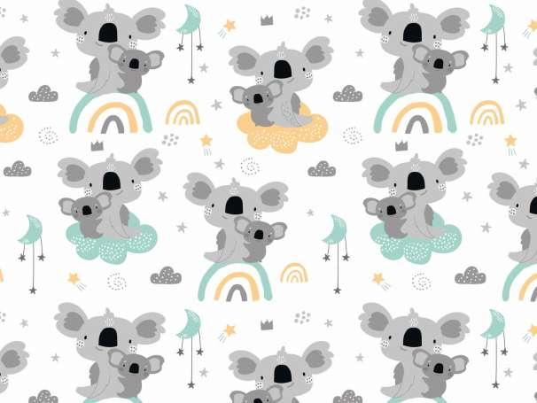 Jersey Stoff - Koala & Regenbogen - mint,senf