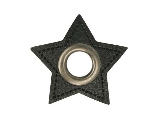 1 Kunstleder-Stern mit Öse - 11 mm - schwarz-anthrazit