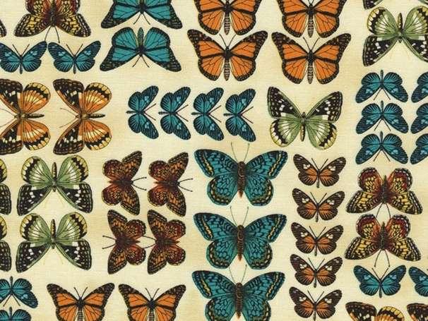 Baumwolle Stoff - Butterflies in Rows