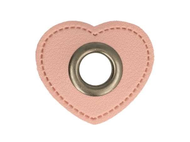 1 Kunstleder-Herz mit Öse - 11 mm - rosa/anthrazit