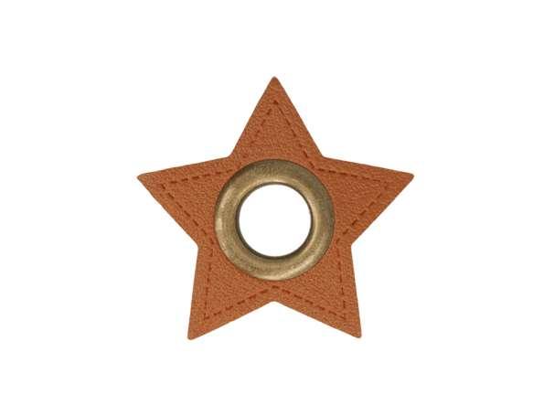 1 Kunstleder-Stern mit Öse - 8 mm - braun/bronze